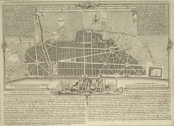 A PLAN FOR REBUILDING THE CITY OF LONDON, AFTER THE GREAT FIRE IN 1666, BUT UNHAPPILY DEFEATED BY FACTION